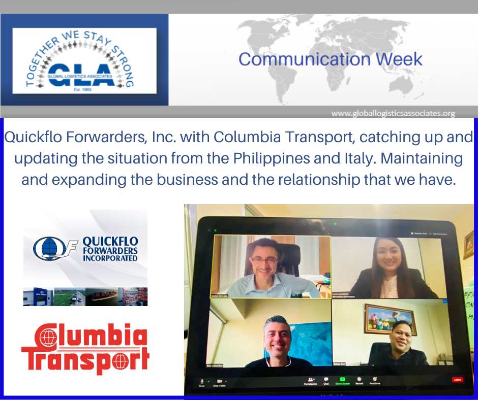 "Quickflo Forwarders, Inc. and Columbia Transport. Proving that being a member of GLA ""Together we Stay Strong"""